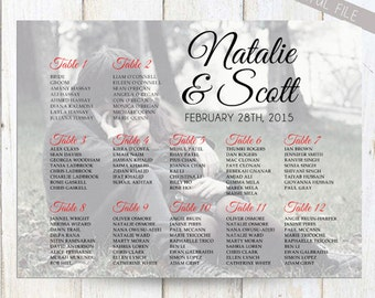 Photo Wedding Seating Chart - Reception Seating - Personalized Wedding Seating Chart with Photo - DIGITAL file!