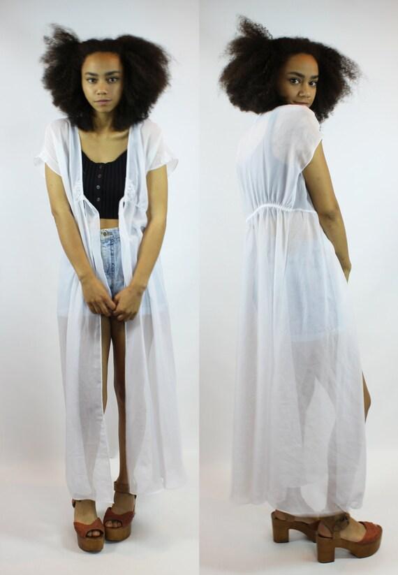 Cream Kimono Robe Long White Chiffon Cozy Cardigan Floor