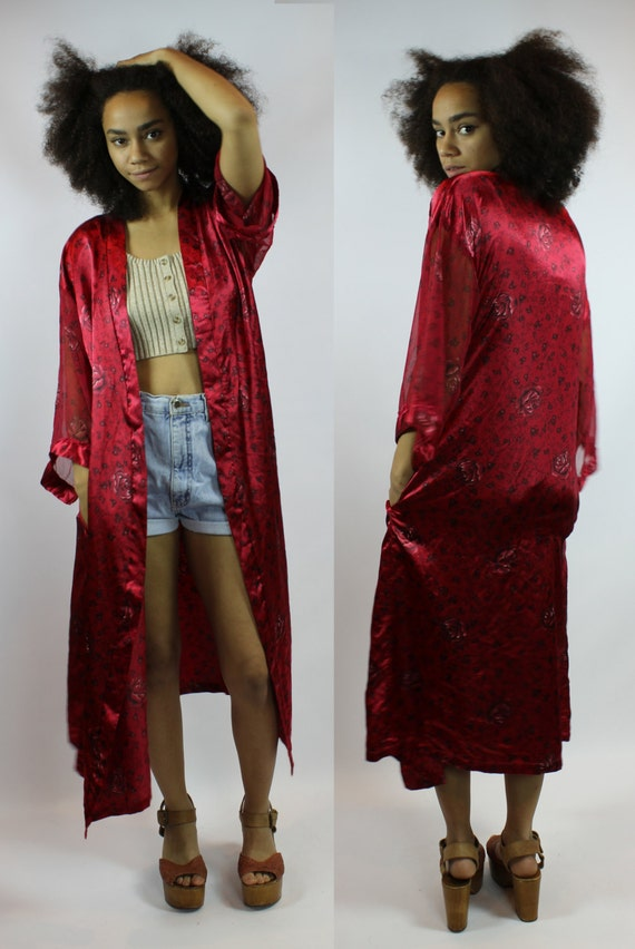 Floor Length Lace Cardigan >> Burgundy Silk Kimono Robe Satin Long Cozy Cardigan