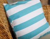 Turquoise & White Striped Pillow Cover - 16X16, 18X18, 20X20
