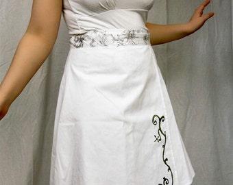 Short Reversible Wrap skirt, knee length, white cotton, grey printed flowers, T36/38 (S, 04/06)