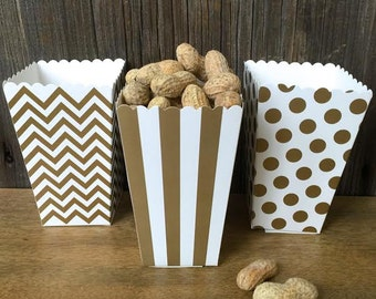 Gold Chevron, Stripe and Polka Dot Paper Popcorn Boxes - Favor Box- Wedding, Party Supply - 36 Ct.