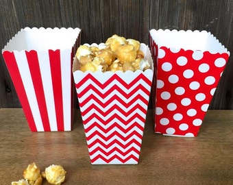 Red Stripe, Chevron and Polka Dot Popcorn Boxes - 36 Ct.   Carnival, Birthday Party Supply