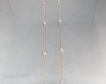 14 Karat Yellow Gold CZ Necklace