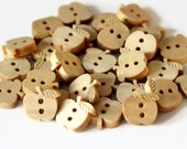 25 Wooden Apple Buttons - 12mm - Natural Buttons - Wood Buttons - Shaped Buttons - Apple Shaped Button - Teachers Buttons - NW86