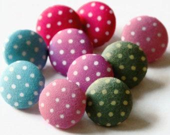 10 Fabric Buttons - 16mm - Polka Dot Buttons - Spotty Fabric Button - Plastic Shank Button - Fabric Shank Button - Dot Shank Button - SK32