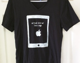 "SOLD OFFLINE - iPad Vegan T-Shirt ""Actual Size of Hen Cage"""