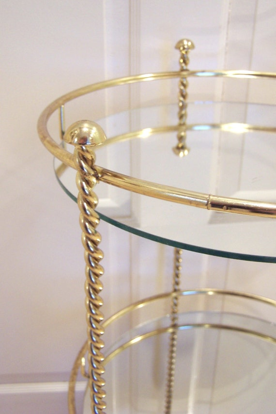Hollywood Regency Gold Metal Amp Mirror 3 Tier Circular Table