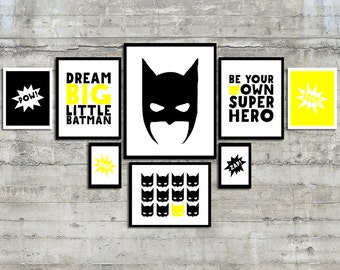 Superhero Wall Art Prints- Be Your Own Superhero Gallery Wall Art. Superhero Decor. Super hero Room. Boys Room Decor. Superhero Nursery Art.