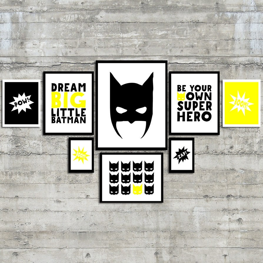 superhero wall art prints be your own superhero gallery wall. Black Bedroom Furniture Sets. Home Design Ideas