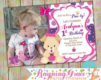 Pretty Puppy Birthday Paw-ty Invitation Personalized with Photo (Digital/Printable)