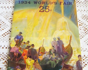 Vintage 1934 World's Fair Official Pictures Book by Kaufmann & Fabry Co. Art Deco Designs World's Fair Souvenir Chicago World's Fair