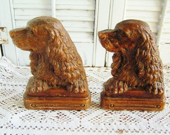 Vintage Pair Spaniel Dog Bookends Home Decor Vintage Library Dog Lover Hunting Dog Hunting Decor