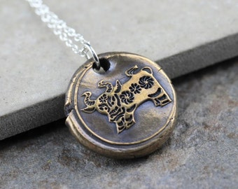 Ox Necklace Chinese Zodiac Pendant Wax Seal Necklace Chinese Astrology Bronze Pendant Sterling Silver Chain Mixed Metal