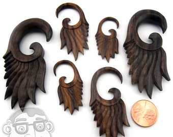 Sono Wood Goddess Spirals Plugs Sizes / Gauges (10G - 00G) - New!