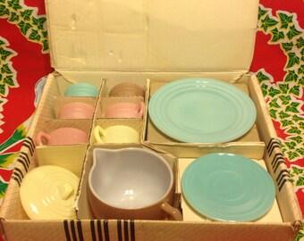 Vintage Hazel Atlas complete 16 piece Little Hostess party set in pastel colors- Mint in Box, 1940s