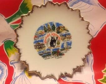 Vintage ceramic souvenir plate- Wonderful Wyoming