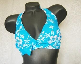 Retro Swimsuit Retro Swimwear Blue and White  Bathing Suit Two Piece Swimsuit Women Swimwear Size M, XL, XXL
