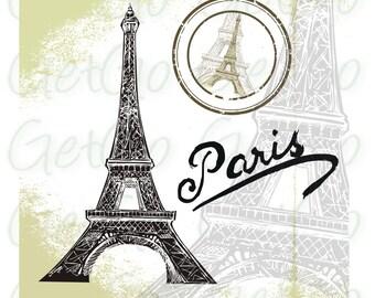 Paris Clipart, Silhouette, Vector, Eiffel Tower, Cards, Crafts, Scrapbooks, Antique Paris Images Instant Download, Digital Stamp
