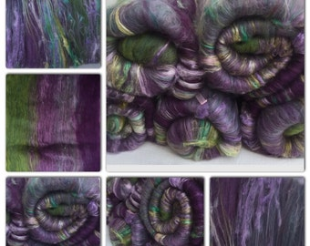 Hand carded batt, spinning, felting, 55grams - GLAMOUR So soft and Scrumptious