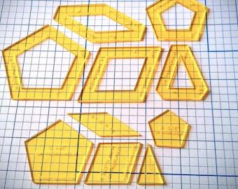 COMBINED:  La Passacaglia 3/8 inch seam WINDOW style (5 pieces) &  NO Seam Allowance (5 pieces)  - Acrylic Quilt Templates