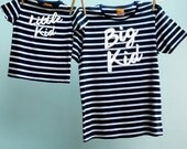 Great Gift for New Dad Matching T Shirt Big Kid / Little Kid Twinset - Dad & Son or Daughter Breton tshirt Navy White/Cream organic shirts