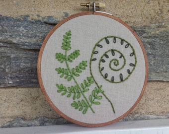 Hand Embroidery. Fern. Fiddlehead. Hoop Art. Wall Art. Embroidery Hoop. Home Decor. Personalized. Nature. Wall Hanging. Forest.