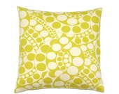 Chartreuse Pillow, 14x14 Pillow Cover, Modern Decorative Pillows, Green Throw Pillow, Toss Pillows, Cushion Cover, cm, Circling Chartreuse