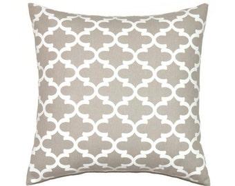 trefoil taupe pillow covers 18x18 pillow cover ecru decorative pillows brown throw pillow