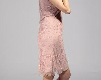 Vintage inspired pink Elizabeth dress. Hand embellished.