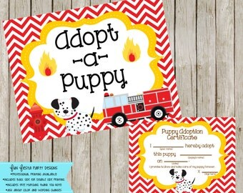 Adopt a Fire Puppy Sign and Certificates