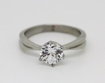 Solitaire 1.5ct genuine white Moissanite gemstone ring in Titanium or White gold - handmade engagement ring M205