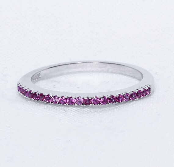 1.2mm wide Pink Sapphire Half Eternity ring in white gold or