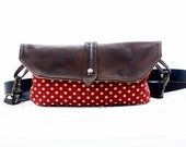 Red with dots  Hip Bag - Fanny Pack - Leather and Canvas - Traveler Bag - Utility Hip Belt - Hip Pouch