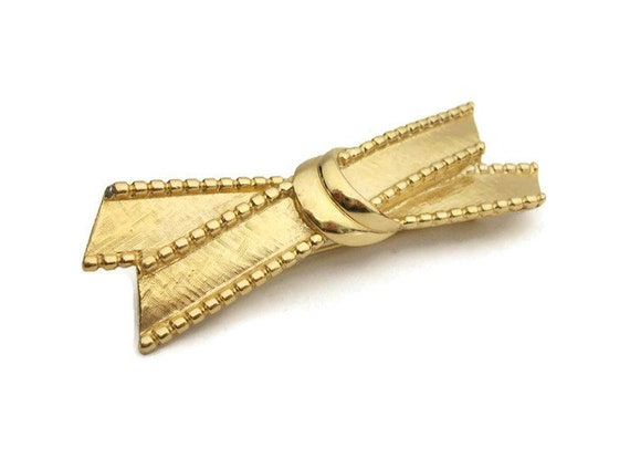 Ribbon Tie Bar : Items similar to trifari gold tone ribbon bow tie brooch