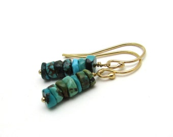 Stacked turquoise earrings, rustic turquoise jewelry, December birthstone jewerly, turquoise tribal earrings, dainty gold bohemian earrings