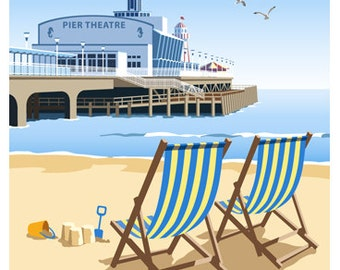 BOURNEMOUTH PIER and Deck Chairs on the beach, Dorset. A4, A3, A2 in Retro, Art Deco style design