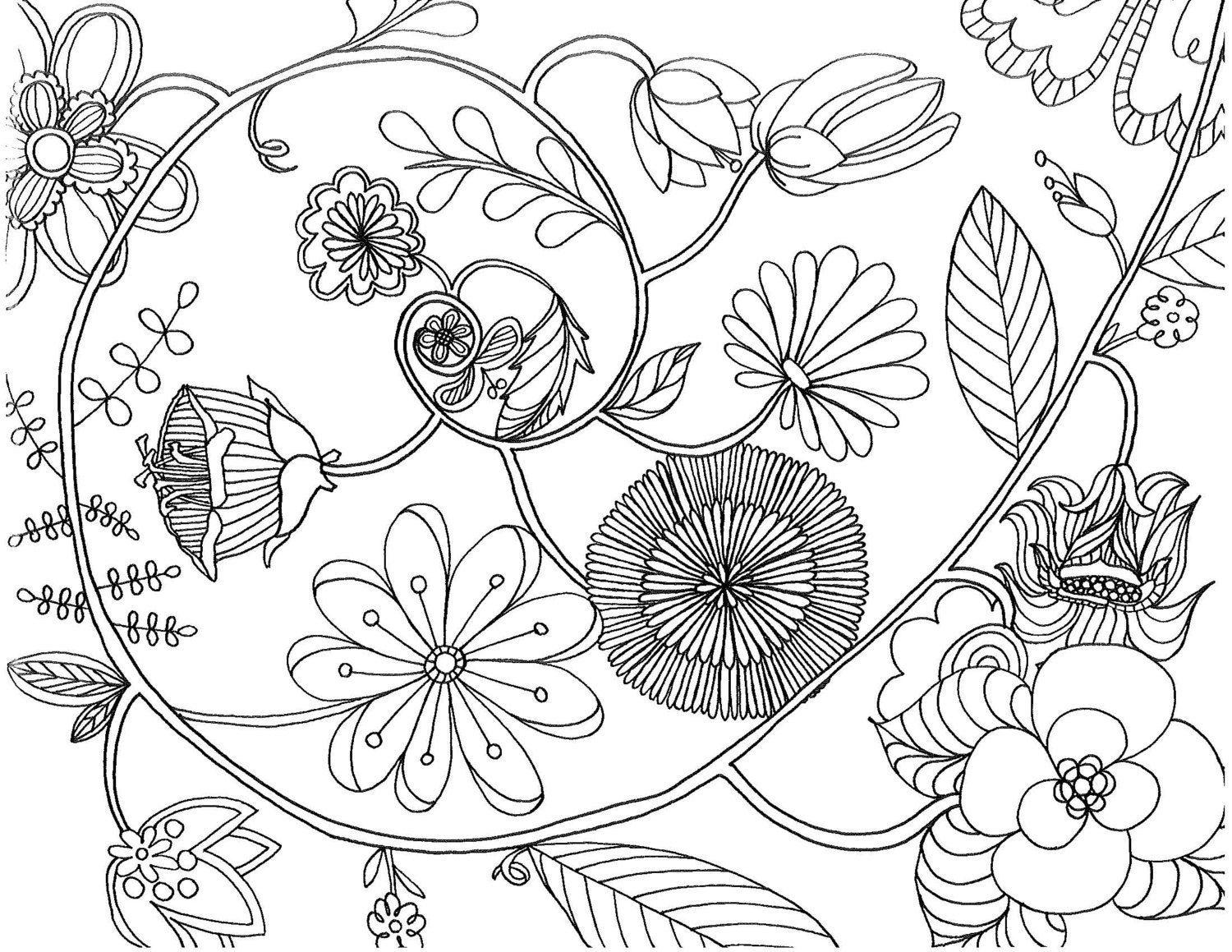 spiral coloring pages to print | floral spiral coloring page