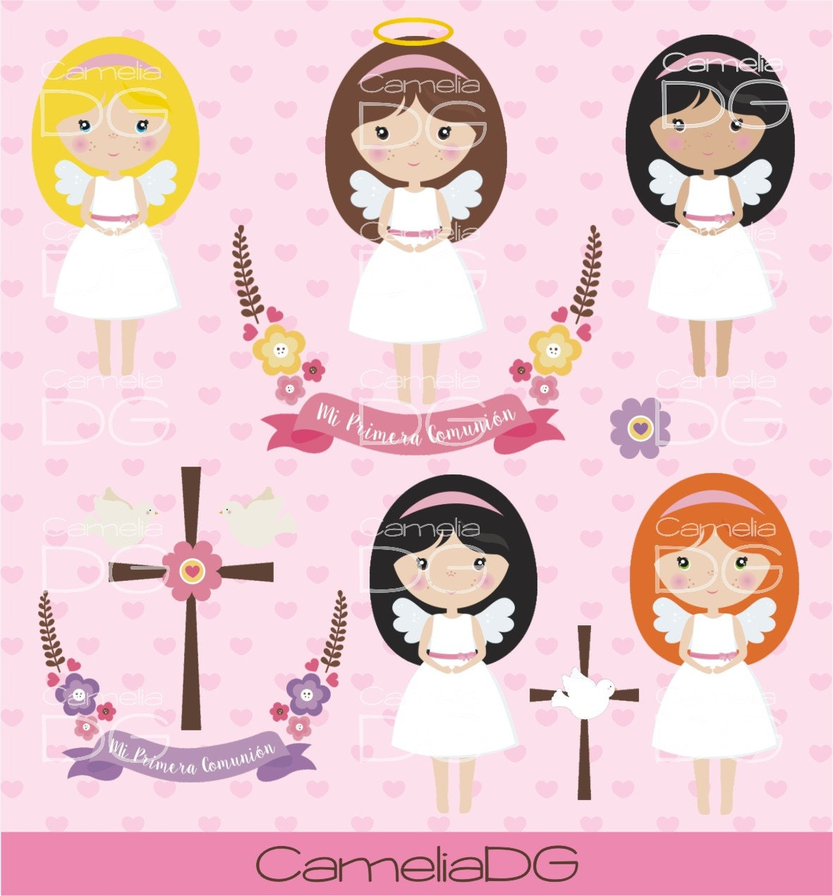 First communion clipart Angel clipart.
