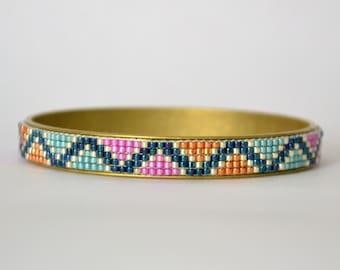 Beaded Bangle, Bead Loom Bracelet, Aqua and Orange Brass Bangle,Handmade Jewellery, UK Seller