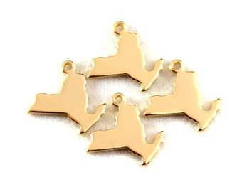 2x Gold Plated Blank New York State Charms - M115-NY