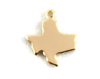 2x Gold Plated Blank Texas State Charms - M115-TX