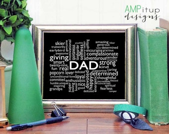 Father's Day Gift - Dad Cloud Art - Custom Cloud Art - Dad Printable Gift - Father's Day Printable - Gift for Father's Day - Dad Art Gift