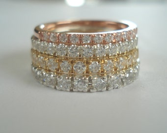Diamond wedding band or stacking rings,comfort fit, pave setting,14 K. white,yellow or pink(rose) gold hand made in U.S.