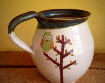 Pottery owl mug stoneware ceramic cup