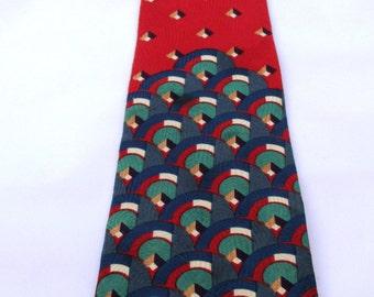 Italian Bellasario Silk Geometric Patterned Tie