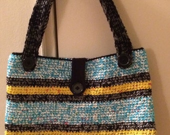 Crochet Blue striped plarn tote bag