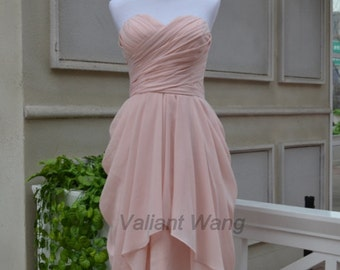 Blush Pink Sweetheart Chiffon Bridesmaid Dress Short Knee Length Ruffles Prom Dress