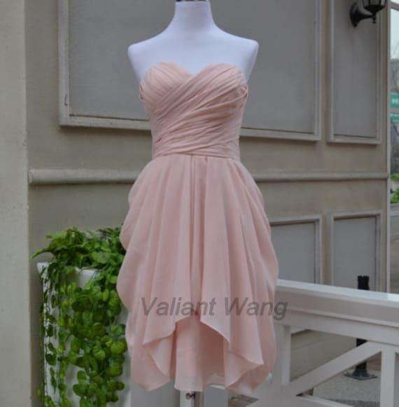 Blush pink sweetheart chiffon bridesmaid dress short knee for Short blush pink wedding dresses