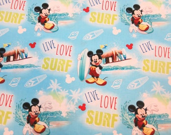"1/2 yard of 100% cotton Mickey Mouse ""Surf"" Fabric"